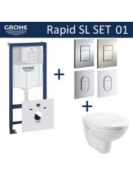 Grohe Rapid SL Toiletset set01 Basic Smart met Grohe Arena of Skate drukplaat