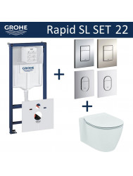 Grohe Rapid SL Toiletset set22 Ideal Standard Connect Aquablade met Grohe Arena of Skate drukplaat