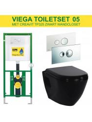 Viega EcoPlus Toiletset 05 Creavit TP325 Zwart met Visign for Style 10 drukplaat