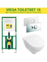 Viega EcoPlus Toiletset 19 Villeroy & Boch O.novo met Visign for Style 10 drukplaat