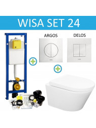 Wisa XS Toiletset set24 Wiesbaden Vesta Rimless 52 cm met Argos of Delos drukplaat