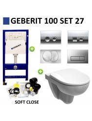 Geberit UP100 Toiletset set27 Geberit Sphinx 280 Randloos met Delta drukplaat