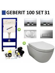 Geberit UP100 Toiletset set31 Sanilux Easy Flush Rimfree 48cm compact met Delta drukplaat