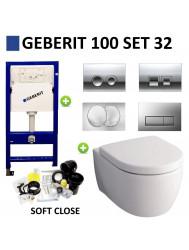 Geberit UP100 Toiletset set32 Sphinx serie 345 Randloos 6 ltr met Delta drukplaat