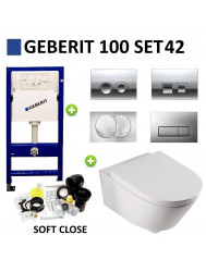 Geberit UP100 Toiletset set42 Boss & Wessing Metro 56cm diep Met Delta drukplaat