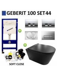 Geberit UP100 Toiletset set44 Civita Black Rimfree Mat Zwart Met Delta drukplaat