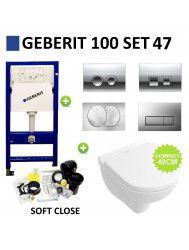 Geberit UP100 Toiletset set47 Villeroy & Boch O.Novo Compact Met Delta drukplaat
