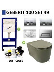 Geberit UP100 Toiletset set49 Civita Randloos Mat Legergroen Met Delta drukplaat
