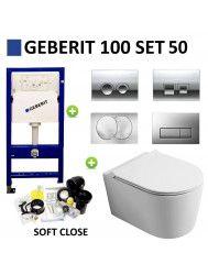 Geberit UP100 Toiletset set50 Civita Randloos Mat Legergroen Met Delta drukplaat