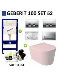 Geberit UP100 Toiletset Set52 Wandcloset Salenzi Civita Mat Roze en Delta Drukplaat