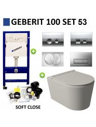 Geberit UP100 Toiletset Set53 Wandcloset Salenzi Civita Mat Grijs en Delta Drukplaat