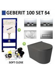 Geberit UP100 Toiletset Set54 Wandcloset Salenzi Civita Mat Antraciet en Delta Drukplaat