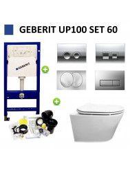 Geberit UP100 Toiletset Design Randloos Modo Set 61 met Delta Drukplaat