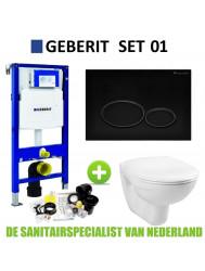 Geberit UP320 Toiletset set01 Basic Smart Met Matzwarte Drukplaat