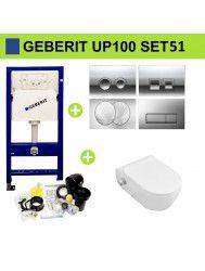 Geberit UP100 Toiletset Set51 Sanilux EasyFlush met Bidet en Delta Drukplaat
