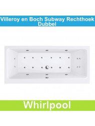 Villeroy & Boch Subway rechthoek 180x80 cm Whirlpool Dubbel systeem | Tegeldepot.nl
