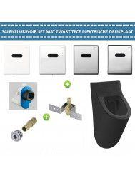 Urinoir Set Salenzi Hung Achterinlaat Mat Zwart met TECE Drukplaat Elektronisch
