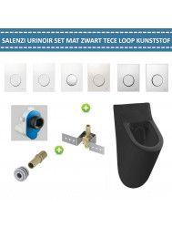Urinoir Set Salenzi Hung Achterinlaat Mat Zwart met TECE Loop Drukplaat Kunststof