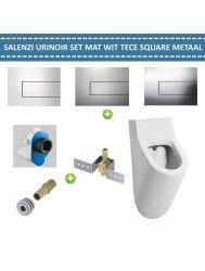 Urinoir Set Salenzi Hung Achterinlaat Mat Wit met TECE Square Drukplaat Metaal