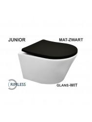 Wandcloset Wiesbaden Vesta Junior Diepspoel Rimfree Mat Wit (Inclusief Flatline Zitting Mat Zwart)