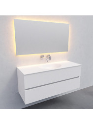 Badkamermeubel Solid Surface BWS Stockholm 120x46 cm Midden Mat Wit (zonder kraangat)