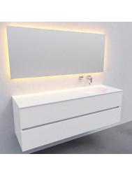 Badkamermeubel Solid Surface BWS Stockholm 150x46 cm Rechts Mat Wit (zonder kraangat)