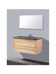 Badmeubelset Sanilux Wood 100 cm Incl. Spiegel (1 Kraangat)