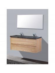 Badmeubelset Sanilux Wood 100 cm Incl. Spiegel (2 Kraangaten)
