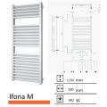 Badkamerradiator Ifona M 1230 x 500 mm Zwart