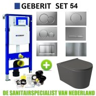 Geberit UP320 Toiletset Set54 Wandcloset Salenzi Civita Mat Antraciet Sigma Drukplaat