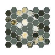 Mozaïek Valencia 27.8x32.5 cm Recycled Glas, Hexagon Mat En Glanzend Khaki (Prijs Per 1.00 m2)