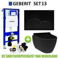 Geberit UP320 Toiletset set13 Idevit Alfa Matzwart Randloos Met Matzwarte Drukplaat