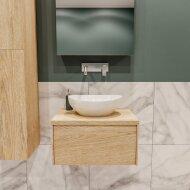 Badkamermeubel BWS Madrid Washed Oak 60 cm met Massief Topblad en Keramische Waskom (0 kraangaten)