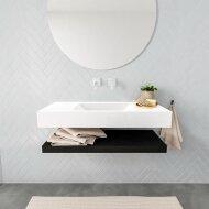 Badkamermeubel BWS Ibiza 100 cm met Mat Zwart Planchet Solid Surface Wastafel Mat Wit (zes varianten)