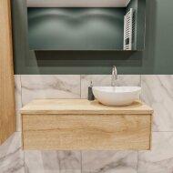 Badkamermeubel BWS Madrid Washed Oak 100 cm met Massief Topblad en Keramische Waskom Rechts (1 kraangat)