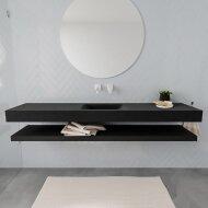 Badkamermeubel BWS Ibiza 200 cm met Planchet Solid Surface Mat Zwart (acht varianten)