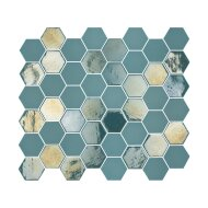 Mozaïek Valencia 27.8x32.5 cm Recycled Glas, Hexagon Mat En Glanzend Turquoise (Prijs Per 1.00 m2)