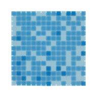 Mozaïek Amsterdam Basic 32.2x32.2 cm Glas Met Fijne Korrels Blauw Mix (Prijs Per 1.04 m2)