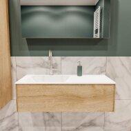 Badkamermeubel BWS Madrid Washed Oak 100x45x30 cm Mat Witte Solid Surface Wastafel Links (1 kraangat)