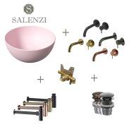 Salenzi Waskomset Unica Round 40x20 cm Mat Roze (Keuze uit 4 Kleuren Kranen)