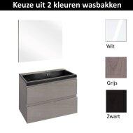 Badmeubelset Differnz The Collection met Spiegel 60x43x61 cm (Wit, Grijs en Zwart)