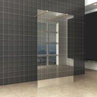 BWS Vrijstaande Inloopdouche Pro Line Helder Glas met Twee Stabilisatiestangen Messing Goud