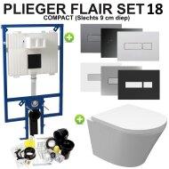 Plieger Flair Compact Toiletset set18 Wiesbaden Vesta Junior Rimless 47 cm met Flair drukplaat