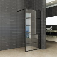 Inloopdouche Horizon 80x200 cm Inclusief Mat-Zwart Raster en NANO Glas