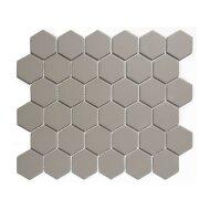 Mozaïek London 28.1x32.5 cm Onverglaasd Porselein Hexagon, Mat Antislip En Grijs (Prijs Per 0.91 m2)