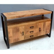 Onderkast Boss & Wessing Mango Wood 135x45x80 cm 3 lades Mat Zwart Metaal