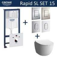 Grohe Rapid SL Toiletset set15 B&W Zero Rim-ex met Grohe Arena of Skate drukplaat