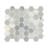 Mozaïek Valencia 27.8x32.5 cm Recycled Glas, Hexagon Mat En Glanzend Wit (Prijs Per 1.00 m2)