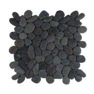 Mozaiek Mat Pebble Regular S Swarthy Black Sea Stone 30x30 cm (Prijs per 1m²)