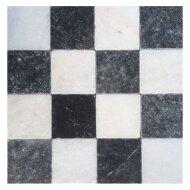 Natuursteen tegels Dambord vloer wit marmer en Turks hardsteen anticato 10x10x1 (Doosinhoud 1 m²)